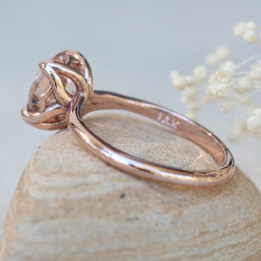 Solitaire Morganite Engagement Ring 8mm Round 14k Rose Gold LS5866