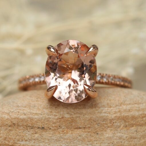 11x9mm Oval Morganite Engagement Ring in Solid 14k Rose Gold LS4875