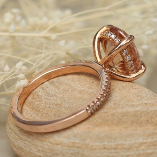 Morganite and Diamond Engagement Ring Oval Cut 14k Rose Gold LS4875