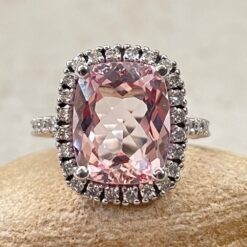 Pink Morganite Engagement Ring Single Halo in 14k White Gold LS2449