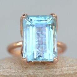 Emerald Aquamarine Engagement Ring 14x10mm in 14k Rose Gold LS6244