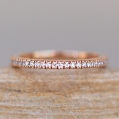 Handmade Full Eternity Diamond Wedding Band in 14k Rose Gold LS3751