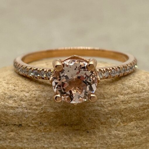 Round Morganite Engagement Ring Dainty 6mm in 14k Rose Gold LS5130