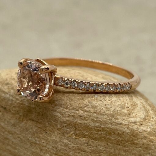 Solitaire Morganite Engagement Ring 6mm Round in 14k Rose Gold LS5130