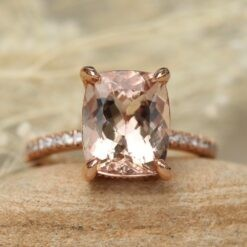 11x9mm Cushion Morganite Ring with Diamonds in 14k Rose Gold LS5092