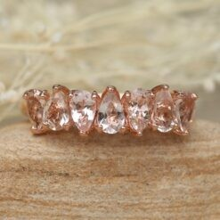 7 Stone Morganite Wedding Band 5x3mm Pear Cut 14k Rose Gold LS5940