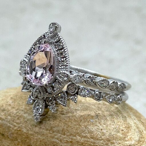 Pink Morganite Bridal Set with Crown Band in 18k White Gold LS6533