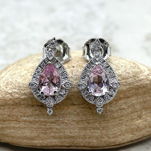 Pink Morganite Earrings Pear Cut with Diamonds 14k White Gold LS6511