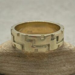 Two Toned Man's Wedding Ring with Engraving in 14k Yellow Gold LS5100