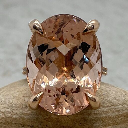 Oval Morganite Cocktail Ring with Diamond Shank 14k Rose Gold LS5394