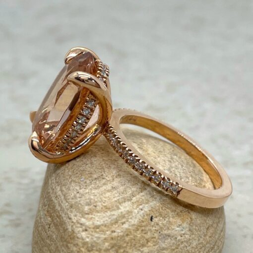 Oval Morganite Engagement Ring with Diamonds in 14k Rose Gold LS5091