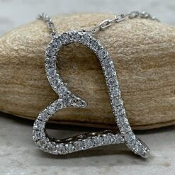 Diamond Heart Shaped Pendant with 16 Chain in 14k White Gold LS174