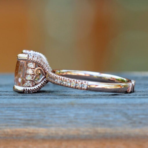 Morganite and Diamond Ring with Heart Filigree 14k Rose Gold LS5111